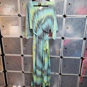 NWT Blu moon Tie Dye BOHO 2 Slit Maxi Dress